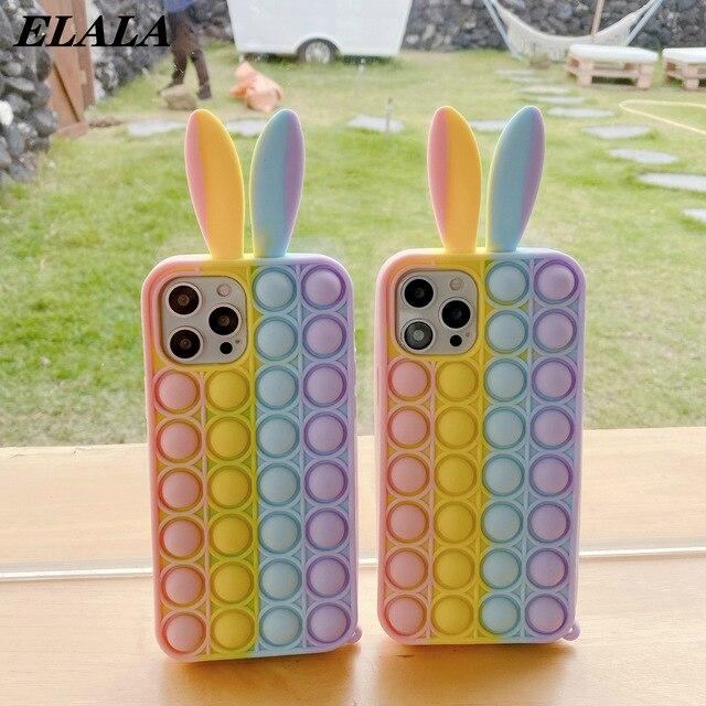 Tai Thỏ Ốp Lưng Điện Thoại iPhone 12 11 Pro Max XR XS 6 7 8 Plus Chống Sốc Silicone Mềm Coque ngộ Nghĩnh Hình Hoạt Hình Dễ Thương Mặt Sau