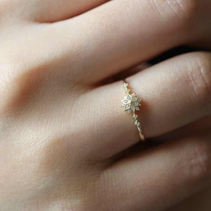 باجو رينغن الباعة الجيدون فضة 925 مجوهرات البنصر الإناث نمط ندفة الثلج خاتم موضة جميلة مع الماس عيد ميلاد