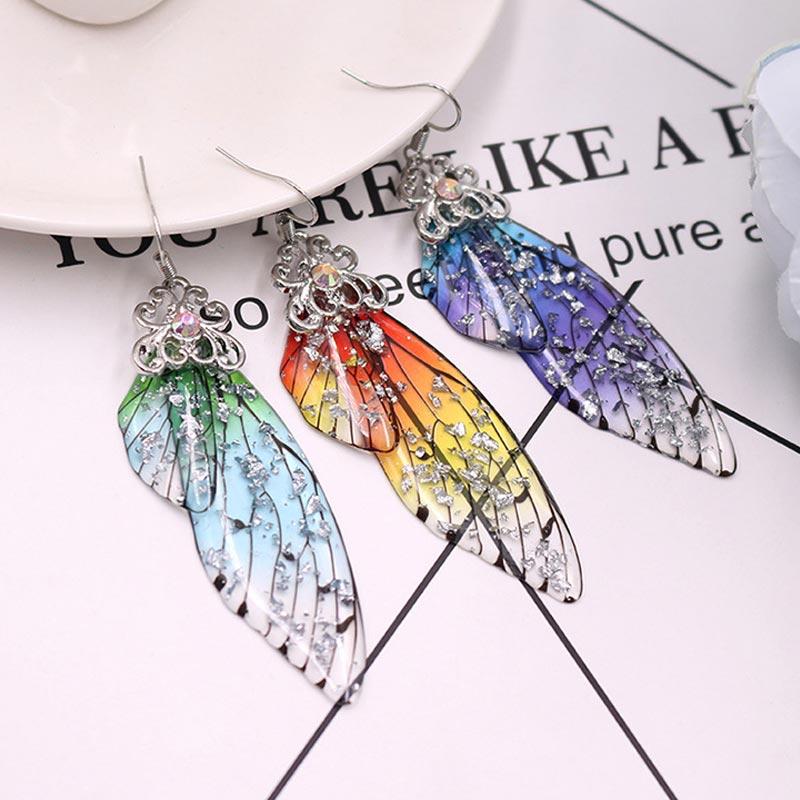 Hot Femme Wing Drop Earrings Gold Color Fairy Tale Cicada Wings Handmade Earrings Rhinestone Dangle Earrings Vintage Jewelry