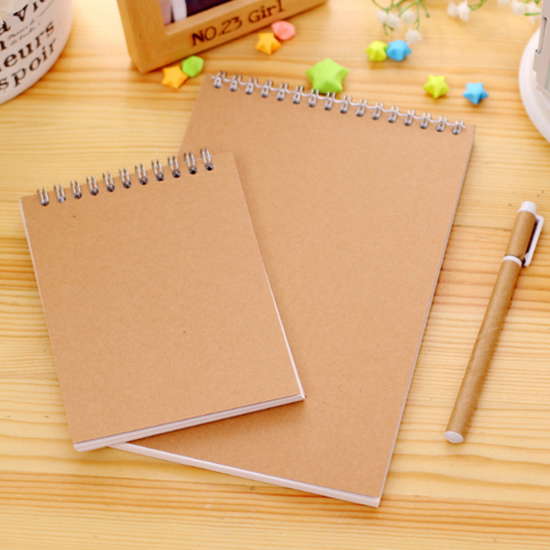 Kraft Notebook Spiral Sketchbook Khaki Color Sketchbook For Drawing A5&A6 Blank Pages 60 Sheets / 120 Pages Art School Supplies