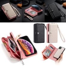 Fermuar cüzdan iphone için kılıf 11 Pro Max Xs X Xr 8 7 6 6s artı deri koruyucu manyetik ayrılabilir kapak kılıf w/kart tutucu