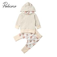 Детская одежда; сезон весна-осень одежда для маленьких мальчиков и девочек топы с капюшоном и ушками; длинные брюки с принтом радуги комплект одежды из 2 предметов