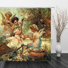 Angels in Heaven Shower Curtain Decor Polyester Fabric Machine Washable