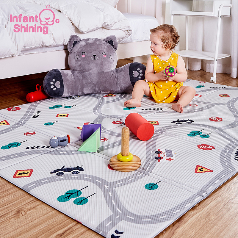 Infant Shining Baby Play Mat PVC Cartoon 100*140*1.0cm Square Carpet Waterproof High Density Non-slip Large Crawl Mat