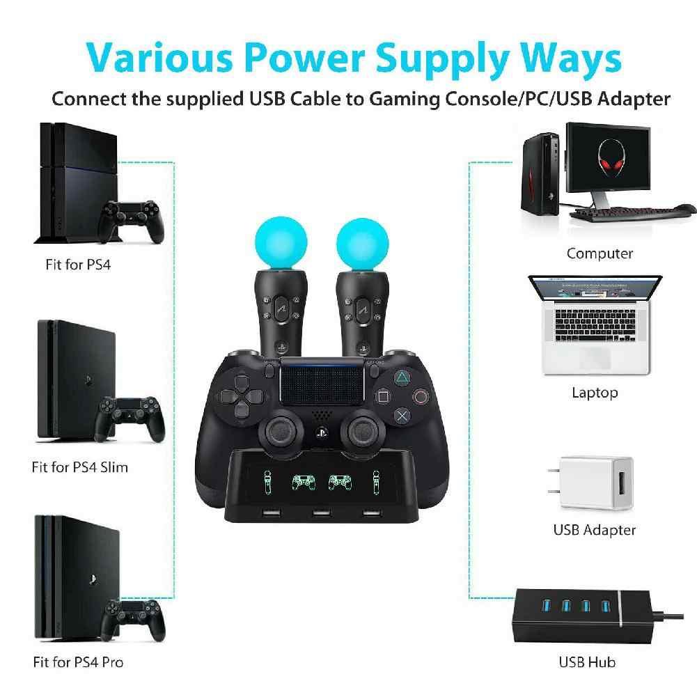 BEESCLOVER 4 في 1 تحكم شاحن حوض سريعة شحن محطة الوقوف PS4 المقود شاحن ل PS4/نقل/PS4 VR