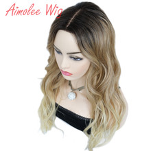 Aimolee Women's Ombre Wigs Hair Brown/Blonde Synthetic Natural Long Curly Part lace Wig For Women long straight wavy curly short ombre blonde wig platinum blonde synthetic wigs for women natural middle part wig