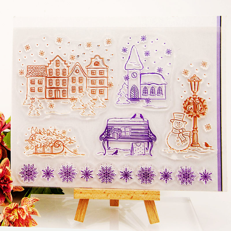 House Winter Snowflake Transparent Stamps for DIY Scrapbooking Card Christmas Clear Making Album paper Craft Decoration