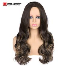 Wignee 2019 New Arriral Long Wavy Wig For Women Middle Part Hair High Density Temperature Synthetic Wig Hair Scalp Wigs long middle part wavy colormix synthetic wig