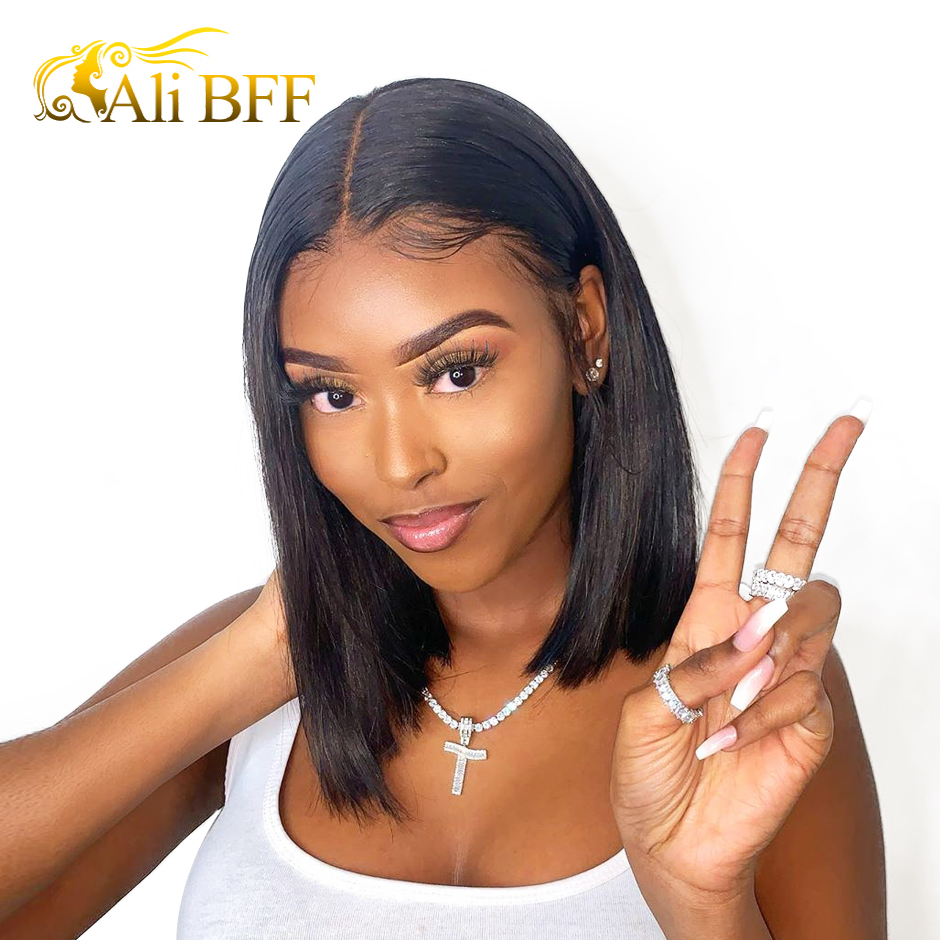 Straight Short Human Hair Wigs 360 Lace Frontal Wig Straight Bob Lace Front Wigs ALI BFF Hair Malaysian Hair Front Wig