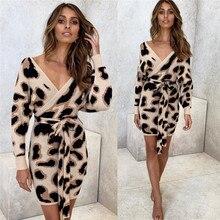 Leopard Dress Women Long Sleeve v-Neck Print Bodycon Dresses Sexy Backless Elegant Evening Party Lady Dress Vestidos De Fiesta sexy scoop neck mesh splicing leopard print bodycon dress for women
