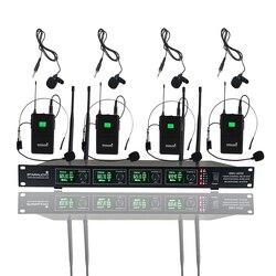 STARAUDIO Wireless Microphone System 4 Channel UHF Headset Lavalier Lapel Mic For Club Stage Karaoke Church KTV Party SMU-4000B
