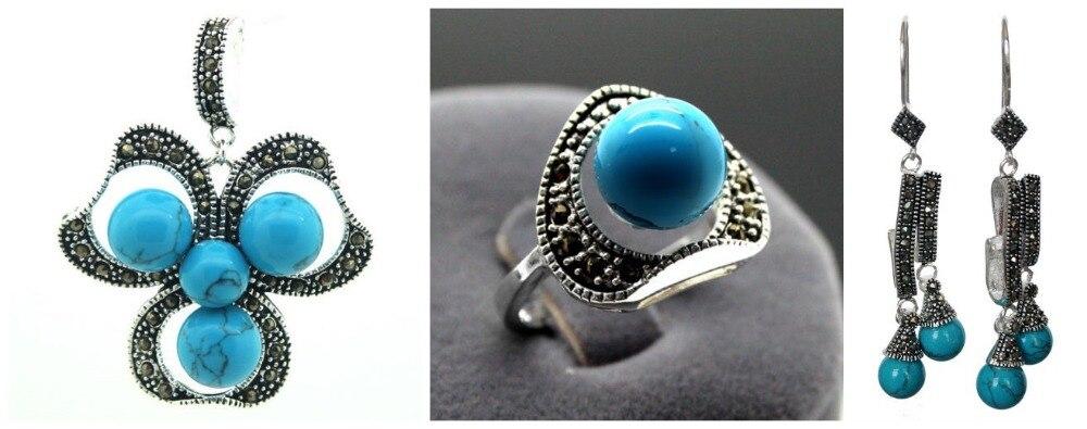 Vintage pierre bleue 925 bague en argent Sterling marcassite (#7-10) pendentif et boucles d'oreilles ensembles
