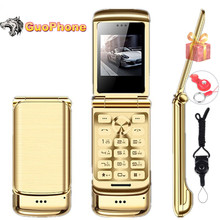 "Original Ulcool V9 Luxury Flip Phone 1.54"" Dual Sim Camera MP3 Bluetooth FM Dialer Anti lost Metal Body Mini Mobile Phone"