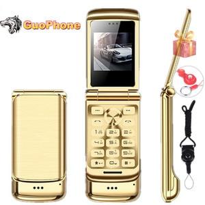 "Image 1 - Original Ulcool V9 Luxury Flip Phone 1.54"" Dual Sim Camera MP3 Bluetooth FM Dialer Anti lost Metal Body Mini Mobile Phone"