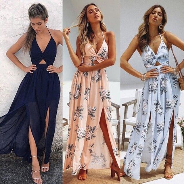 Womens Summer Boho Maxi Long Dress Beach Dresses Sexy V Neck Off Shoulder Floral Halter Dress Backless Bow 2