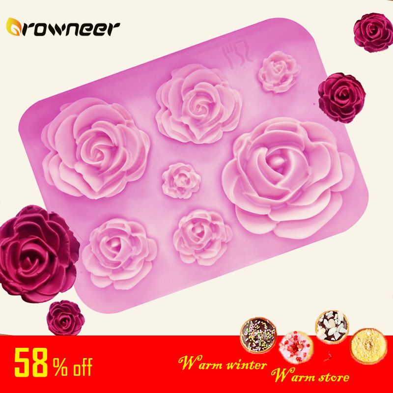 Rose Mold DIY Flower Baking Silicone Cake Decorating Tool Pastry Fondant Sugarcraft Mould Chocolate Biscuits Cookies Kitchen