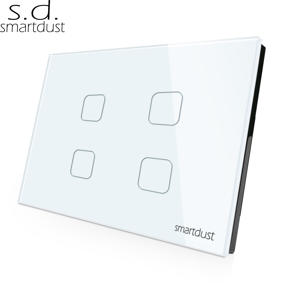 Smartdust US AU Standard Smartlife App Wifi <font><b>Switch</b></font> Google Home Alexa <font><b>4</b></font> <font><b>Gang</b></font> Light <font><b>Switch</b></font> Glass Panel Touch Smart <font><b>Switch</b></font> image