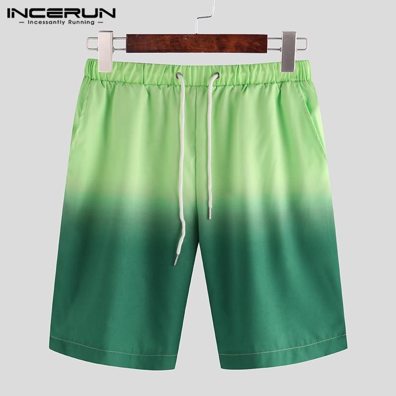 Summer Mens Shorts Tie Dye Casual Loose Gradient Drawstring Shorts Streetwear Fashion Knee Length Shorts Men S-5XL INCERUN 2020