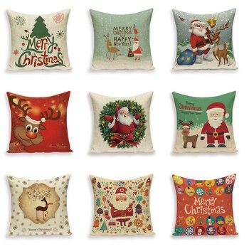 Buon Natale Cuscini Decorativi Copertura Babbo natale Alce Coperte e Plaid Cuscino Custodie Fundas Cojines Decorativos Copri Cuscino Cuscino