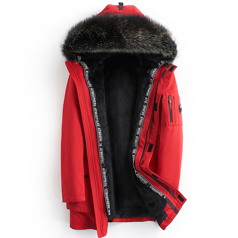 Parka Men Real Mink Fur Liner Coat Winter Jacket Men Raccoon Fur Collar Long Coats Parkas Parka Homme ML-7193 MY1246