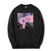 Мужской пуловер с капюшоном черный Повседневный круглым вырезом
