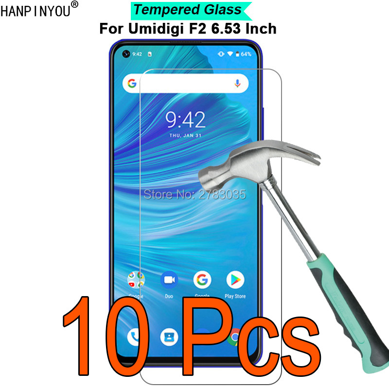 """10 Pcs/Lot For Umidigi F2 6.53"""" 9H Hardness 2.5D Ultra-thin Toughened Tempered Glass Film Screen Protector Guard"""