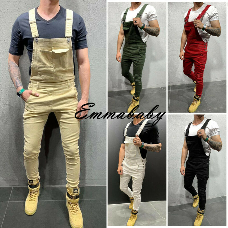 2019 Summer Autumn Men's Jumpsuit Overall Solid Pocket Adjustable Strap Slim Casual Pants