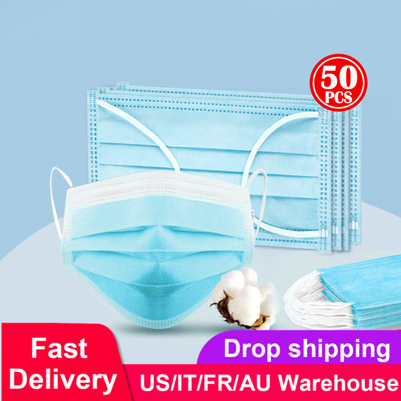 Dropshipping Mouth Mask 3-Layer Non-woven Face Mask Anti Dust Mouth Nose Cover Respirators Unisex Bule Color Packing