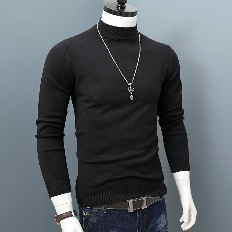ARCSINX Wool Sweater Men Fashion Long Sleeve Fitness Pull Homme Winter Solid Color Slim Fit Half Turtleneck Men Pullover