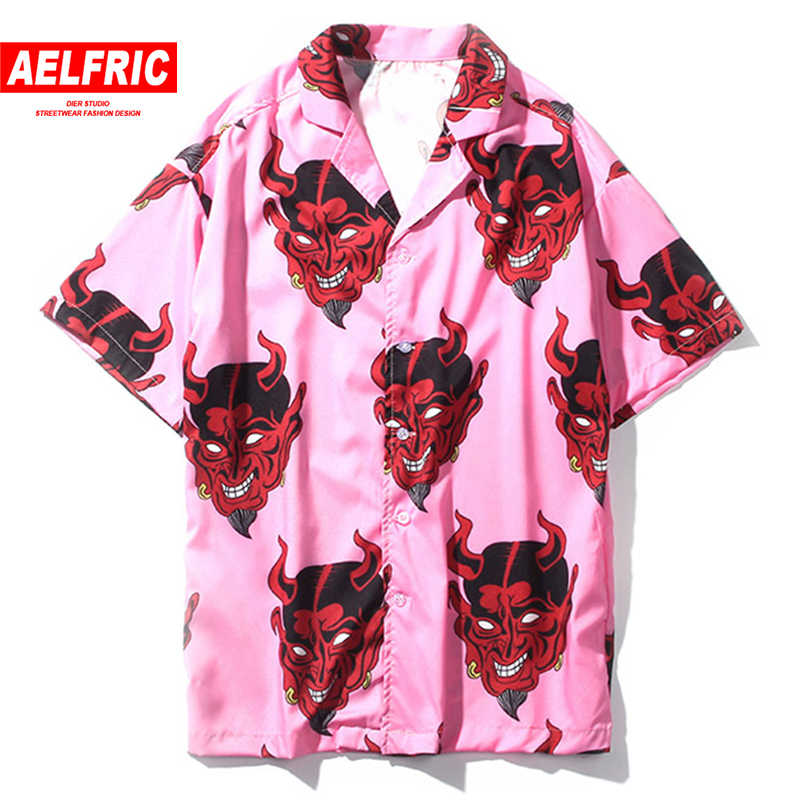 Aelfric Harajuku Demon Print Primavera Verano mujeres blusa Punk gótico Casual suelta camisa de manga corta Tops Femme Hip Hop TZH01