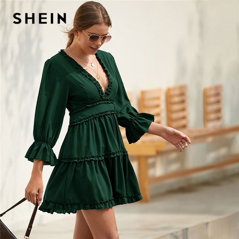 SHEIN Solid Deep V Neck Frill Trim Sexy Flared Dress Women Spring Flounce Sleeve Open Back High Waist A Line Short Dresses