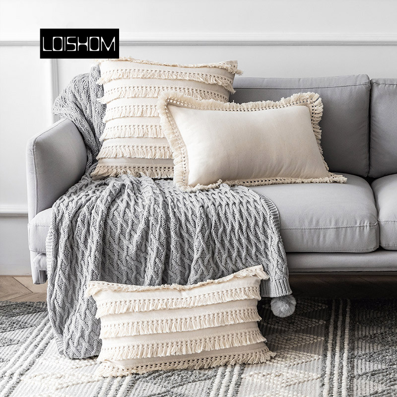 Beige Linen Cotton Tassels Pillow Cover Round Decorative Cushion Cover Home Decor Throw PillowCase 45x45cm/30x50cm