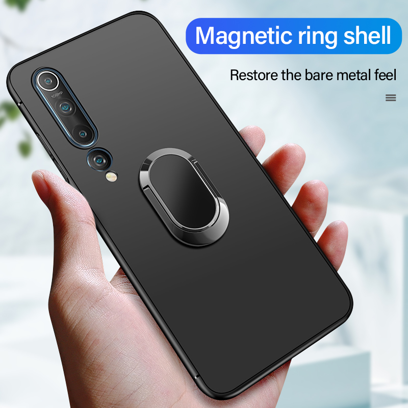 Ultra-thin Magnetic Holder Silicone Phone <font><b>Case</b></font> For Xiaomi Mi 10 <font><b>9</b></font> 8 Lite T Pro Redmi <font><b>Note</b></font> 10 8 7 6 5 Finger <font><b>Ring</b></font> Bracket Cover image