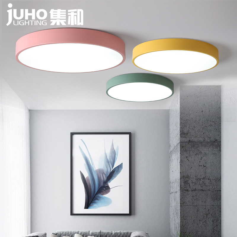Northern European-Style Macarons Style Ultra-Thin Bedroom Ceiling Lamp LED Lamp Circle Children Master Bedroom Lamp Living Room