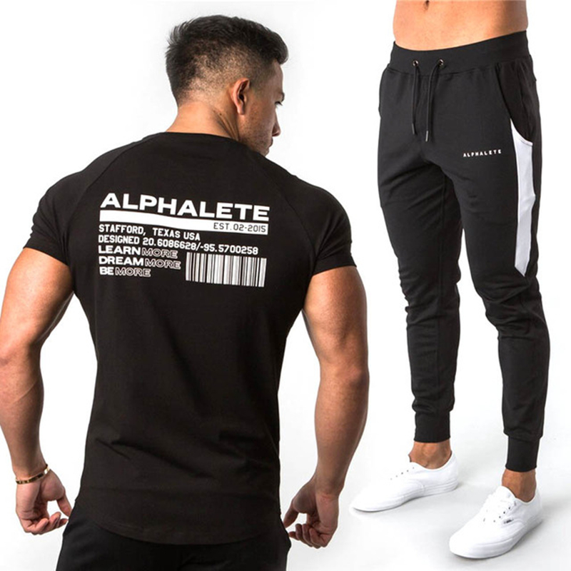 2019 Fashion Gyms Brand Minimal Sportswear Tracksuit Men Short Sleeve Sets Men Alphalete T-shirt+Pants Suit Male Tracksuit Sets