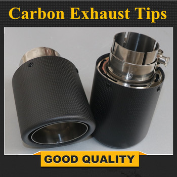 2PCS Inlet (54mm) Outlet (89mm) AK Carbon Exhaust Tip/Muffler pipe For B MW B ENZ A UDI V W Car Accessories