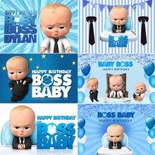 InMemory Little Men Boss Baby Theme Photography Backgrounds Blue Boys Birthday Party Backdrops For Photo Studio Vinyl Custom