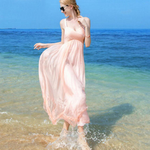 Silk Dresses Women Elegant Pink Beach dress 100% silk Fashion Long Lady High Quality Clothing Free Shipping HOT Selling