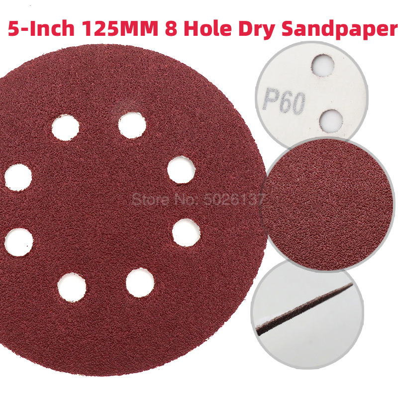 1Pcs 5-Inch 125MM 8 Hole Red Sand Dry Grinding Disc Sandpaper Hook Loop Abrasive Paper Sanding Available Polishing Pads Round