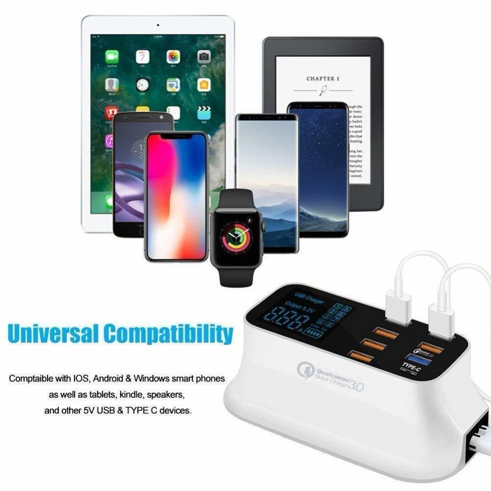 Suitable for Smart Phone Tablet PC 8-port Charger with LCD Display QC3.0 Mobile Phone Fast Charging USB Portable Charger Power