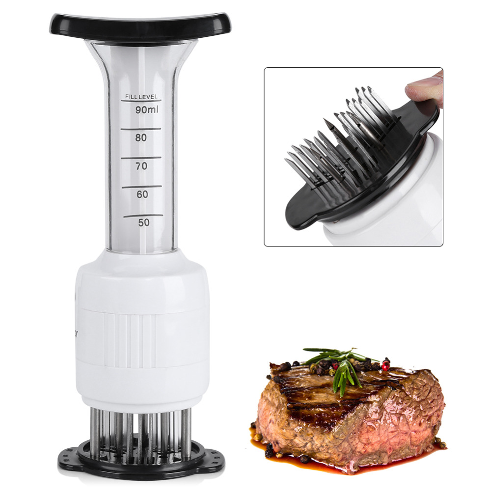Stainless Steel Meat Tenderizer QuickDone Injection Type Steak Needles Marinade Flavor Syringe Kitchen Gadget Kitchenware image