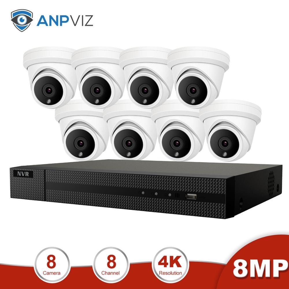 Anpviz 8CH 4K NVR 8MP Dome POE IP Camera Home/Outdoor ONVIF H.265 Security Systems Kit CCTV Video Surveillance NVR Kits|Surveillance System| |  - title=