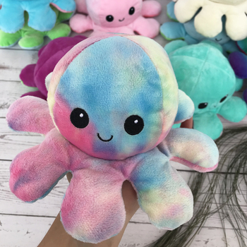 Octopus Doll Double-sided Flip Octopus Plush Toy Doll Marine Life Doll Reversible Plush Toy Color Cap Christmas Gift baby Toys premium new 1pc cute marine life octopus baby plush toy doll octopus multicolor optional dolls