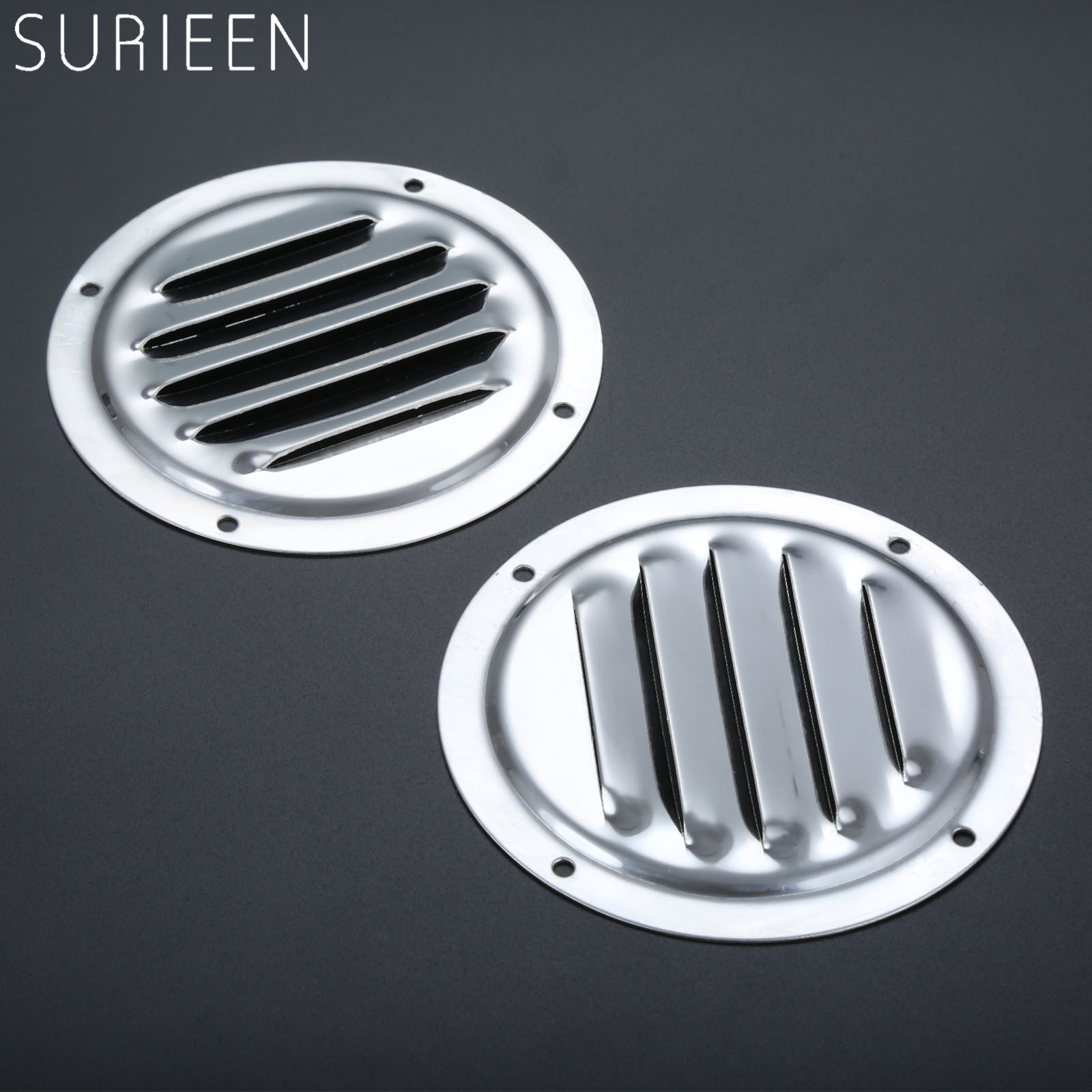 "2PCS 5/"" Round Louvre Air Vent stainless steel Ventilation Grille Cover Excellent"