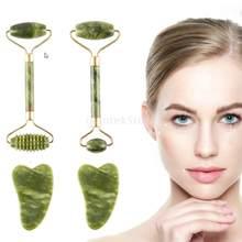 Gesichts Massage Roller Guasha Bord Doppel Köpfe Natürliche Jade Stein Facelift Körper Haut Entspannung Abnehmen Schönheit Neck Dünne Aufzug