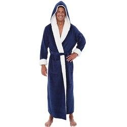 Новый мужской халат, кимоно, удобный коралловый бархат, сохраняющий тепло и мягкий халат, одежда для сна, свободный шарф, воротник, однотонна...