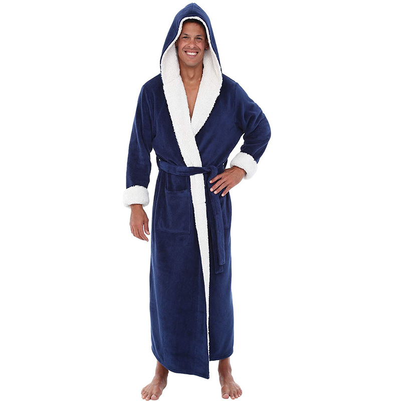 Men New  Robe Kimono Comfortable Coral Velvet Keep Warm And Soft Bathrobe Gown Sleepwear Loose Scarf Collar Solid Homewear