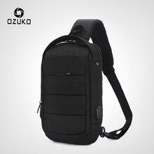 OZUKO повседневная мужская нагрудная сумка, водонепроницаемая сумка через плечо, мужская сумка через плечо с зарядкой через usb, Большая вместительная оксфордская сумка-мессенджер