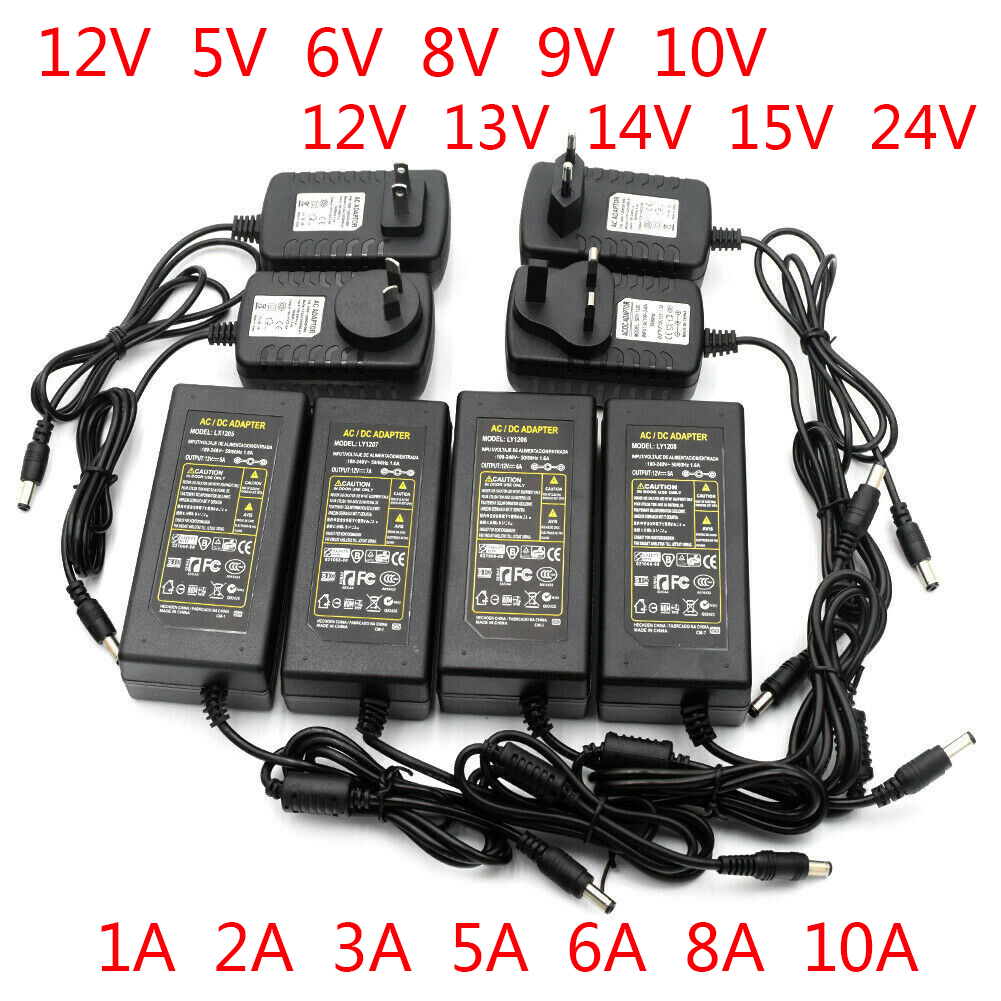 Адаптер питания переменного тока в постоянный ток 12 В 5 в 6 в 8 в 9 в 10 в 12 В 13 в 14 в 15 в 24 В, светодиодный драйвер 1A 2A 3A 5A 6A 8A 220 В в 12 В трансформатор