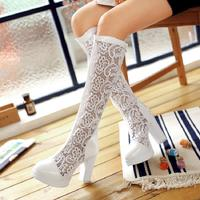 Spring and autumn single boots net boots lace hole boots summer fashion boots children hollow boots high heel